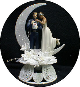 Interracial bride and groom wedding cake topper