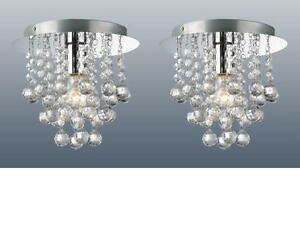 PAIR-OF-CHROME-ROUND-FLUSH-FITTING-CHANDELIER-CEILING-LIGHTS-CRYSTAL-DROPLETS