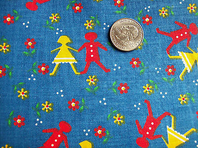 1 1/2+ Y Vintage Cotourier 100% Cotton 35 W Boy Girl Whimsical Primary Colors