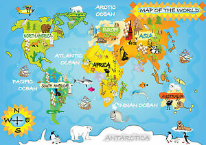 Childrens world map a4 260gsm print poster ebay image is loading childrens world map a4 260gsm print poster gumiabroncs Choice Image