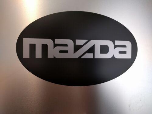 "Satin Black 9/"" x 5.5/"" inches Mazda Oval Vinyl Decal Sticker Silver Metallic"