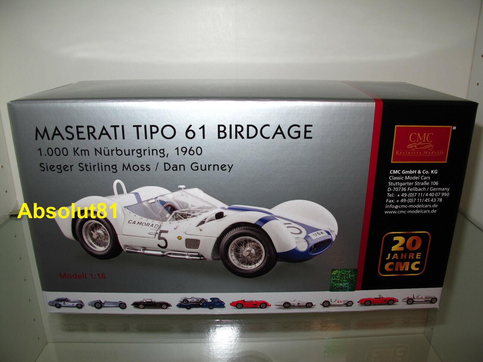 1:18 CMC m-047 MASERATI TIPO 61 Birdcage Nurburgring 60 Stirling Moss Dan Gurney
