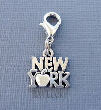 "Dangle ""New York"" Clip On Charm lobster claw Fits Link Chain, locket C226"