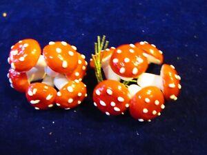 Vintage-Spun-Cotton-Mushroom-12-Red-Polka-Dot-3-4-034-18mm-German-Millinery-EH2C