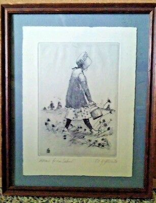 "Signed E Gifford Pulled Print Blue ""Home From School"" Framed 11.5"" by 9.5"""