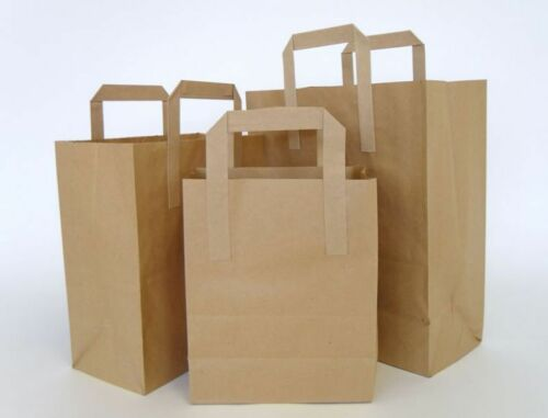 Takeaway Brown Kraft Paper SOS Carrier Bags with Flat Handles Gifts