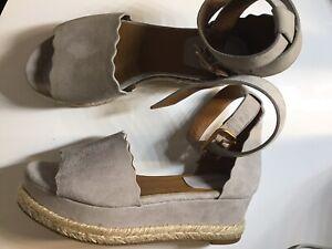 7e94468127b Image is loading Authentic-Chloe-Lauren-Espadrille-Wedge-Sandal -Elephant-Gray-