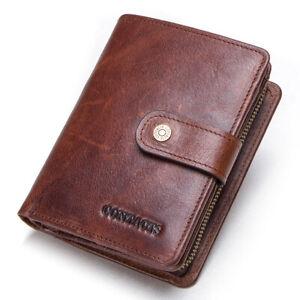 Genuine-Leather-Wallet-Men-039-s-Bifold-RFID-ID-Card-Holder-Front-Pocket-Purse-Brown