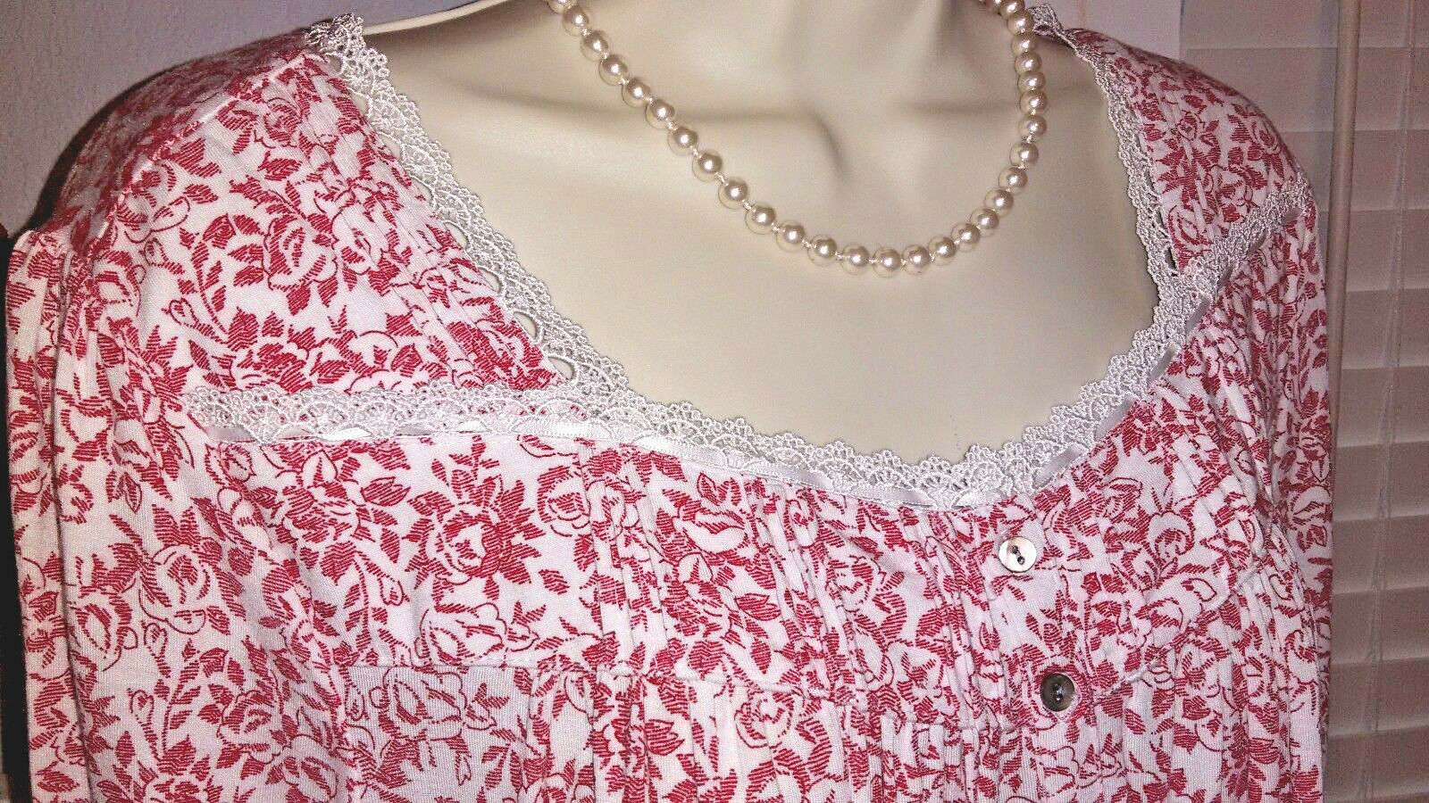 NWT L Large Eileen West Nightgown Modal Knit Gown NEW Red Floral 3 4 Sleeve