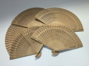 Japanese-Wooden-Folding-Hand-Fan-Vtg-Sensu-5pc-Cutout-Interior-Junk-S110