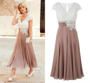 Details about Plus Size Mother Of The Bride Dress Chiffon Party Dress Tea  Length Wedding Gowns