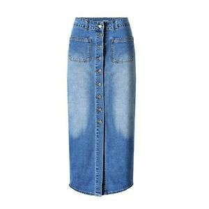 Womens-Long-Denim-Skirt-Casual-Loose-High-Waisted-Single-Breasted-Jean-Skirt