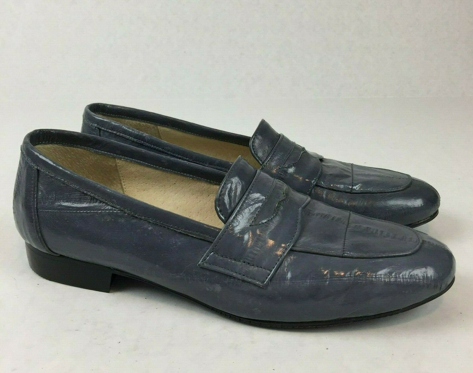 Bostons Hand Made 1179 Womens Leather Reptile Print Slip On Loafer  shoes Sz 7M