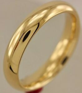 Solid 14K Yellow Gold 4 MM Size 8 Wedding Ring Band Mens Womens