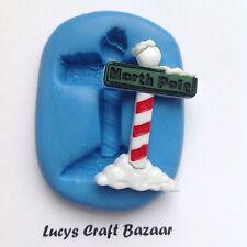 Silicone Mould Xmas North Pole Sign Santa Cupcake Topper Cake Decorating Fimo