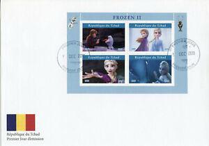 Chad-Disney-Sellos-2019-FDC-Frozen-Elsa-Olaf-Dibujos-animados-Animacion-de-2-4v-M-S-I
