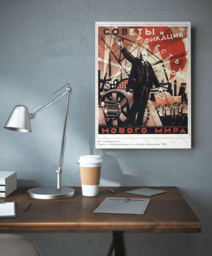 Lenin Vintage Propaganda Poster Russian Communist Political Print USSR СССР Art