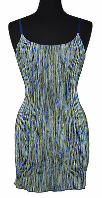 2484 Free People Intimately Womens Blue Multi Ribbed Knit Slip Dress S Small $68