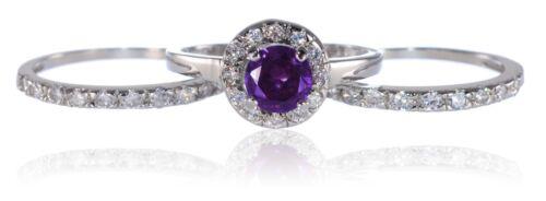 White Gold Sterling Silver Brilliant Amethyst Engagement Wedding Three Ring Set
