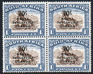 KUT-KGVI-1941-70c-on-1s-Brown-Chalky-Blue-Block-SG154-Mint-Never-Hinged-MNH-UMM