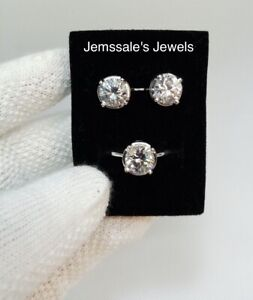 jem: 2CT BIG SOLO STUD EARRINGS AND DIAMOND RING