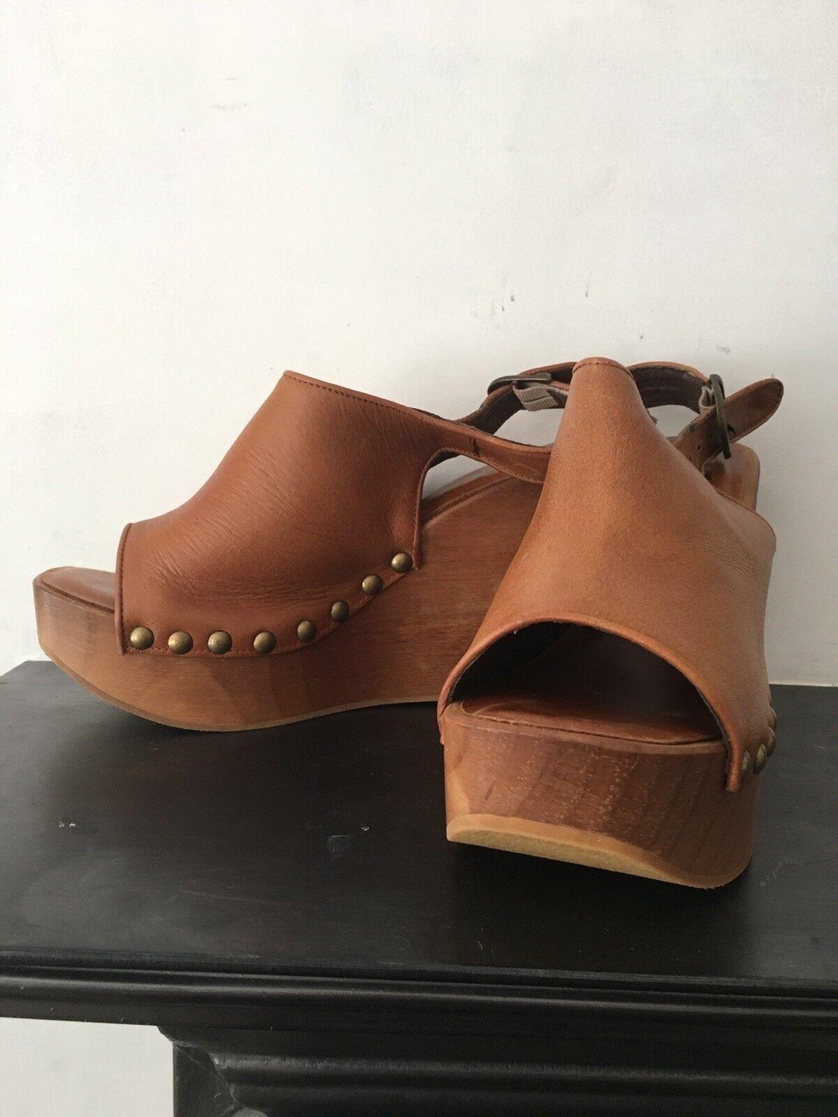 Jeffery Campbell 'Clog' Wedge Tan leather schuhe UK UK UK 41 8 Brand New a977e2
