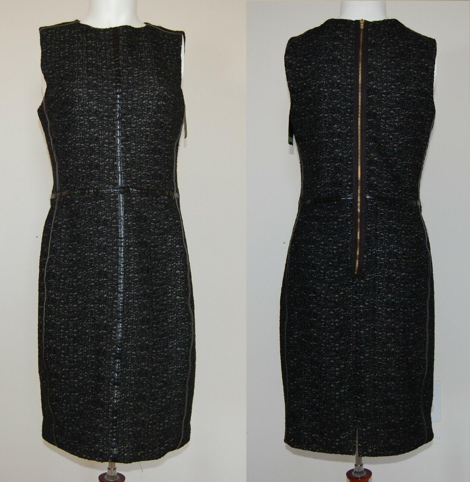 Just Taylor Woherren schwarz Metallic Faux Leather Trim Sheath Dress Größe 8 NWT