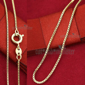 18K-PLAIN-YELLOW-GOLD-FILLED-SOLID-BOX-CHAIN-Thin-LONG-NECKLACE-for-Pendant-GIFT