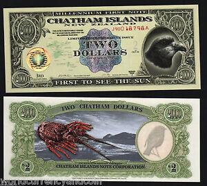 CHATHAM-ISLANDS-2-DOLLARS-2000-MILLINNIUM-BIRD-1st-POLYMER-UNC-RARE-MONEY-NOTE