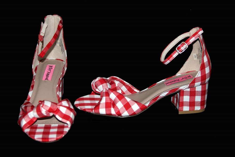 Betsey Johnson rouge blanc Checkerouge Ankle Strap Block Heel Wms 5.5 Sandals NEW