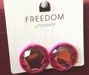 7f74dfaa9b1f5 Details about TOPSHOP Freedom New Pink Circle Gem Earrings Jewellery RRP £9
