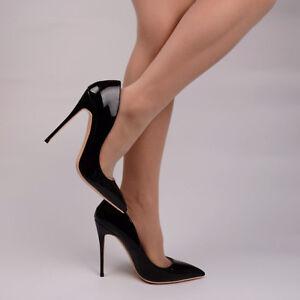 Escarpins-Sexy-LUXE-Cuir-Vernis-Noir-Intense-Talons-8-10-12cm-34-au-43-Neuves