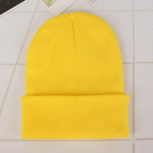 Unisex Solid Wool KnitHat AutumnWinter Warm Beanie HedgingCap Bright Yellow #ur