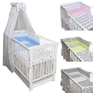 babybett kinderbett wei stars bettset komplett neu matratze schublade 120x60 ebay. Black Bedroom Furniture Sets. Home Design Ideas