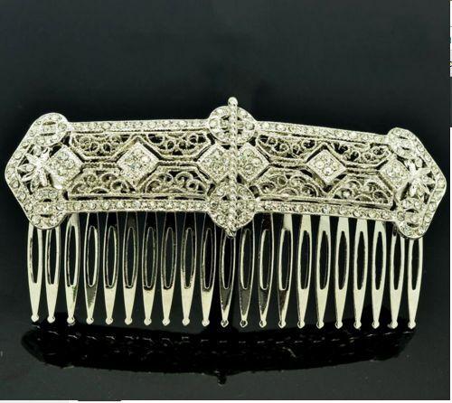 ART DECO 1920s STYLE HAIR CLIP COMB WEDDING BRIDAL BRIDE LADIES RHINESTONE SLIDE