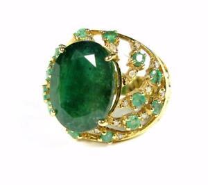 ESTATE-WOMEN-RING-9-1CT-EMERALD-DIAMOND-COCKTAIL-ENGAGEMENT-RING-14K-YELLOW-GOLD