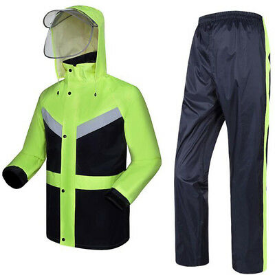 Men Reflective Safety Windproof Coat pants Hiking Hooded Jacket Raincoat Outdoor