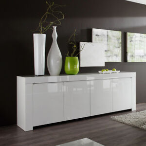 sideboard wei echt hochglanz lackiert wohnzimmer kommode amalfi 210 cm breit ebay. Black Bedroom Furniture Sets. Home Design Ideas