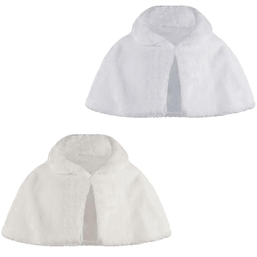 Girls Faux Fur Cape Bridesmaids Tippet Stole Shrug 6 Month - 14 Years