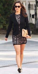 VERY-RARE-H-amp-M-H-M-black-schwarz-nude-apricot-lace-dress-Spitzen-Kleid
