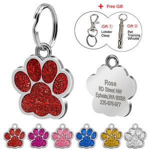 PAW-Pet-Dog-Tags-Glitter-Personalised-Cat-Puppy-ID-Tag-Collar-Tags-Engraved-Free