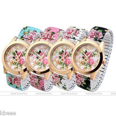 HOT 38mm Women Flora Follower Elastic Stretch Bracelet Quartz Wrist Watch Gift