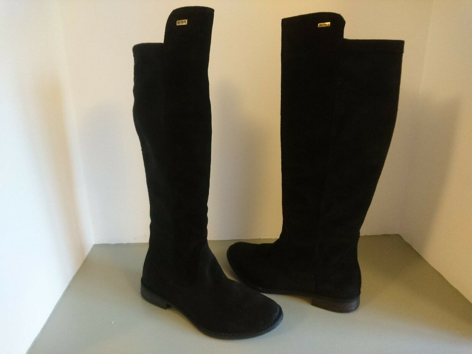 Women's Knee High Soft Suede Boot; Black; Elastic Back; UK 3; EUR 36; NEW; Boxed