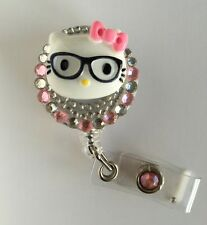 """Bling Hello Kitty 26mm/ 1"""" Retractable Reel ID Badge Holder_pink Bow 1pc"""