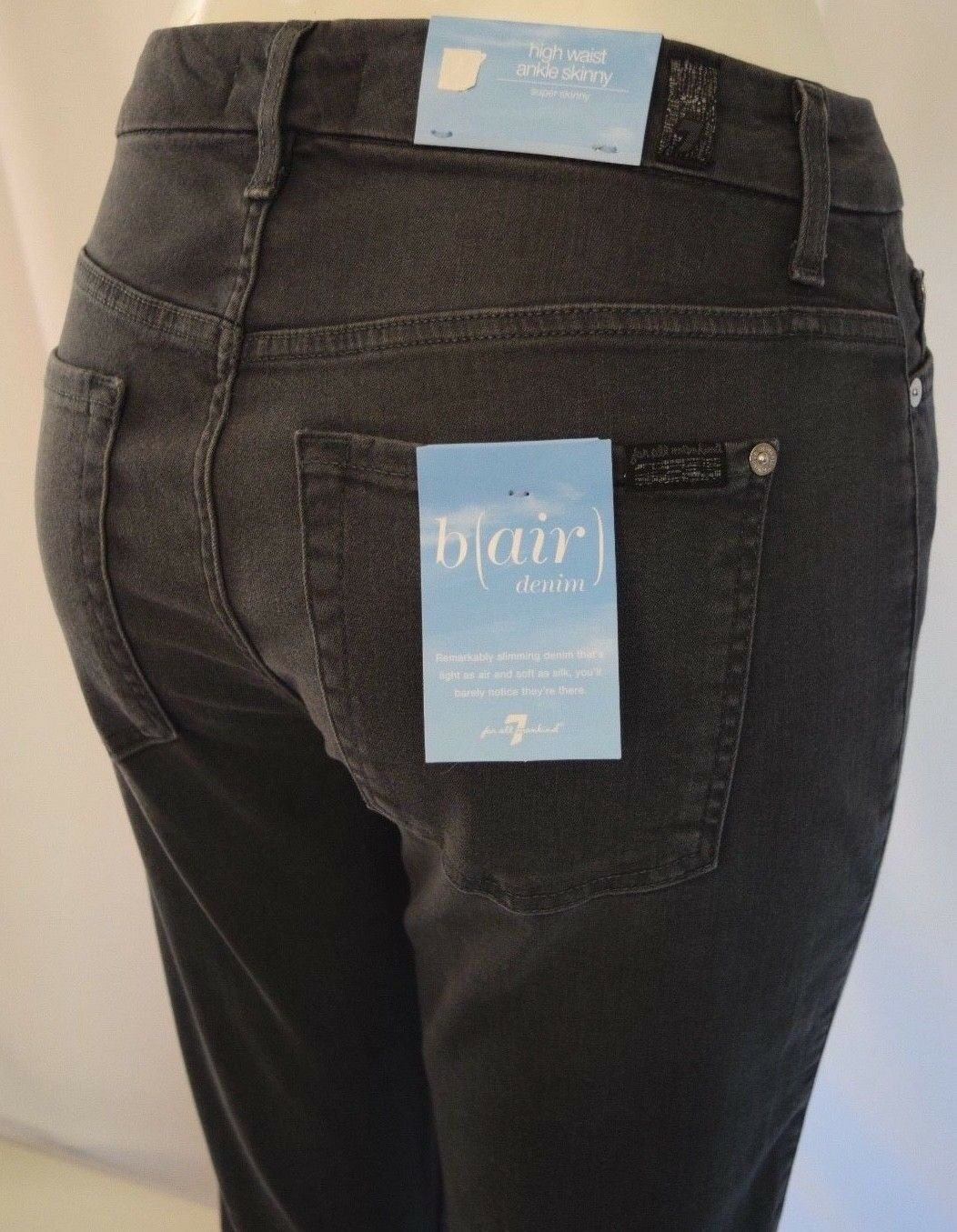Seven 7 For All Mankind HIGH WAIST ANKLE SKINNY b)air Jean Woman 25 SMOKE grey