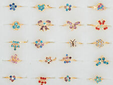10pcs Wholesale Bulks Children Kid Multicolor Crystal Gold Filled Ring Party New