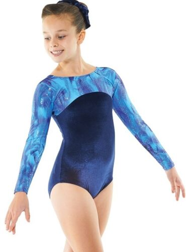 Navy VelvetSparkly Foil Girls Gymnastics Leotard Gym Dancewear Ages 412 Gym 23