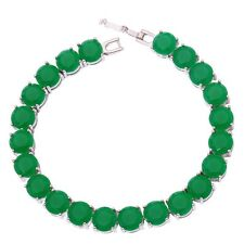 "Emerald Women Jewelry Fashion Gemstone Silver Chain Bracelet 7 7/8"" NS1332"