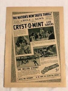 RARE-Vintage-1931-LIFE-SAVERS-AD-Cryst-O-Mint-The-Hole-News-Sidney-Fox-reverse