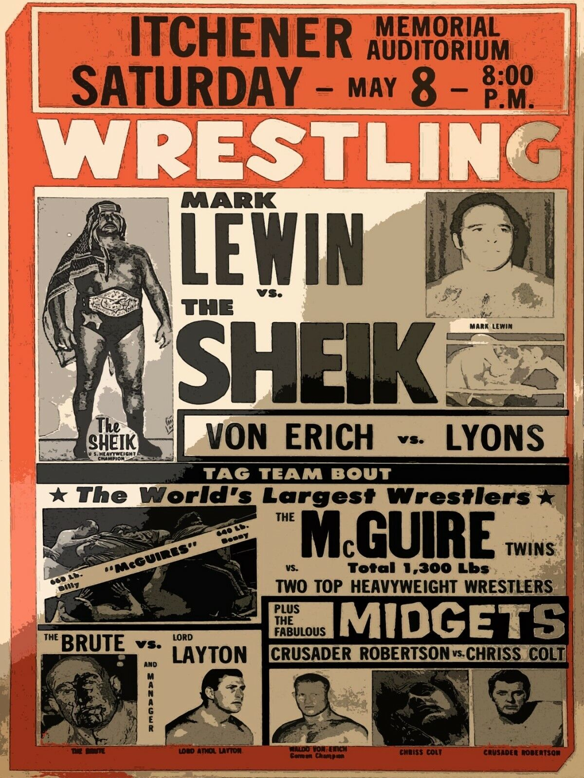 Decoration Poster.Home interior room design.Wall art.Retro Wrestling match.7317